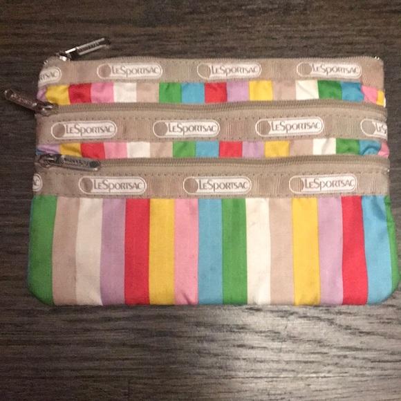 Lesportsac Handbags - LeSportsac Rainbow Stripe 3 Zipper Pocket Pouch